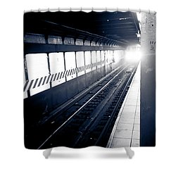 Shower Curtain featuring the photograph Incoming At The Subway - New York City by Peta Thames