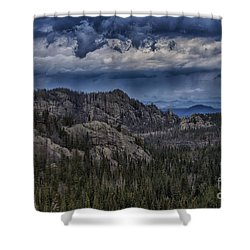 Incoming Storm Over The Black Hills Of South Dakota Shower Curtain