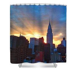 Incredible New York Skyline Sunset Shower Curtain by Miriam Danar
