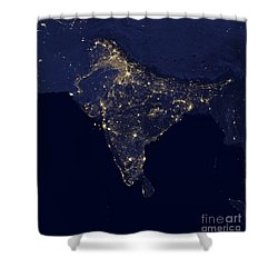 India At Night Satellite Image Shower Curtain by Nasa