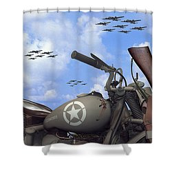 Indian 841 And The B-17 Panoramic Shower Curtain by Mike McGlothlen