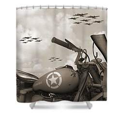 Indian 841 And The B-17 Panoramic Sepia Shower Curtain