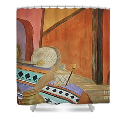 Shower Curtain featuring the painting Indian Blankets Jars And Drums by Ellen Levinson