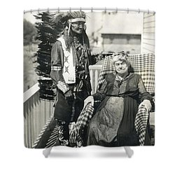 Shower Curtain featuring the photograph Indian Chief And Woman by Charles Beeler