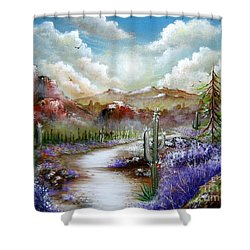 Shower Curtain featuring the painting Indian Gin And Whiskey Dry by Patrice Torrillo