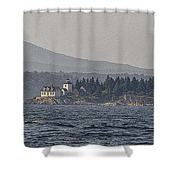 Shower Curtain featuring the photograph Indian Island Lighthouse - Rockport - Maine by Marty Saccone