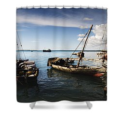Indian Ocean Dhow At Stone Town Port Shower Curtain