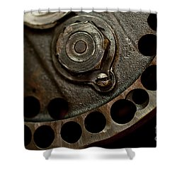 Indian Racer Crankshaft Fly Wheel Shower Curtain