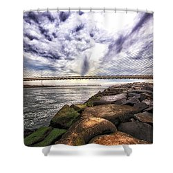 Indian River Bridge Clouds Shower Curtain