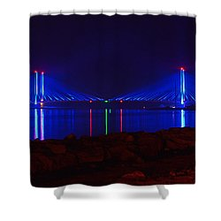 Indian River Inlet Bridge After Dark Shower Curtain
