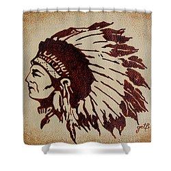 Indian Wise Chief Coffee Painting Shower Curtain by Georgeta  Blanaru