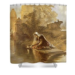 Indian Woman Floating Lamps Shower Curtain by William 'Crimea' Simpson