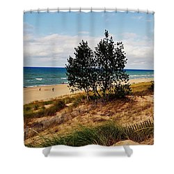 Indiana Dunes Two Tree Beachscape Shower Curtain