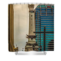 Indiana - Monument Circle With State Capital Building Shower Curtain