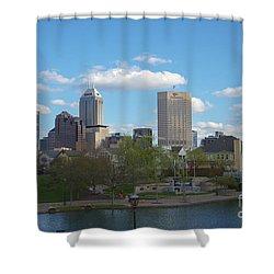Indianapolis Skyline Blue 2 Shower Curtain