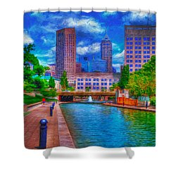 Indianapolis Skyline Canal View Digitally Painted Blue Shower Curtain