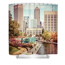 Indianapolis Skyline Old Retro Picture Shower Curtain by Paul Velgos