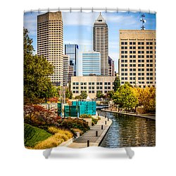 Indianapolis Skyline Picture Of Canal Walk In Autumn Shower Curtain by Paul Velgos