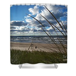 Indiana Dunes' Lake Michigan Shower Curtain by Pamela Clements