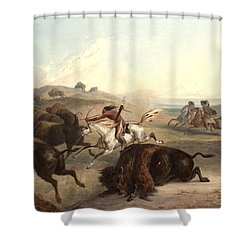 Indians Hunting The Bison Shower Curtain by Karl Bodmer