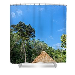 Indigenous Hut Shower Curtain by Jess Kraft