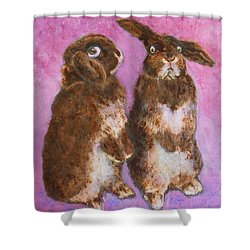 Indignant Bunny And Friend Shower Curtain