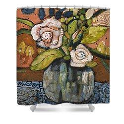 Indigo And Orange Floral Shower Curtain