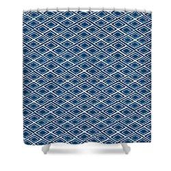 Indigo And White Small Diamonds- Pattern Shower Curtain