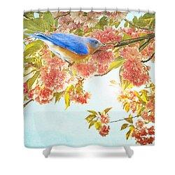 Indigo Bluebird On Pink Flowering Tree Branch  Shower Curtain by Brooke T Ryan