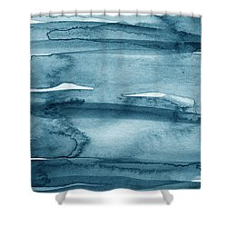 Indigo Water- Abstract Painting Shower Curtain by Linda Woods