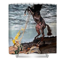 Indomitable Listen With Music Of The Description Box Shower Curtain by Lazaro Hurtado