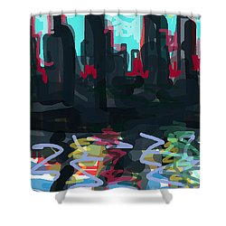 Industrial City On A River  Shower Curtain by Paul Sutcliffe