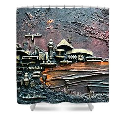 Industrial Port-part 1 By Rafi Talby Shower Curtain by Rafi Talby