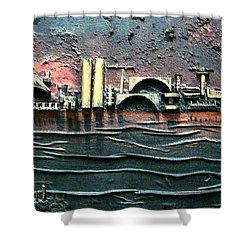 Industrial Port-part 2 By Rafi Talby Shower Curtain by Rafi Talby