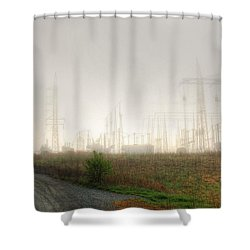 Industrial Skeleton Shower Curtain by Dan Stone