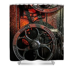 Industrial Wheels Shower Curtain by Carlos Caetano