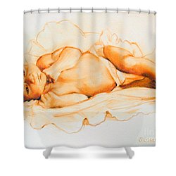 Shower Curtain featuring the painting Infant Awake by Greta Corens