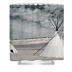 Infrared Image Of Native American Tipis Shower Curtain by Roberta Murray