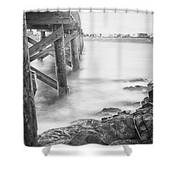 Shower Curtain featuring the photograph Infrared View Of Stormy Waves At Stramsky Wharf by Jeff Folger