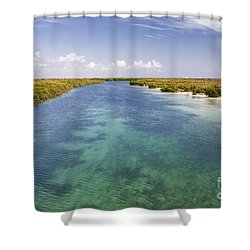Inlet Leading To Caribbean Ocean Shower Curtain