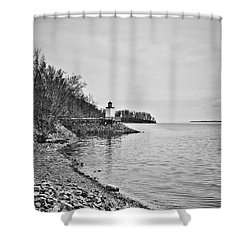 Inlet Lighthouse 3 In B/w Shower Curtain