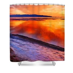 Shower Curtain featuring the painting Inlet Sunset by Bruce Nutting