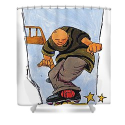 Inline Skates Rail Grind Shower Curtain