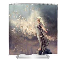 Inner Peace Shower Curtain by Cindy Grundsten