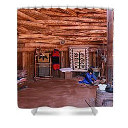 Inside A Navajo Home Shower Curtain by Diane Bohna