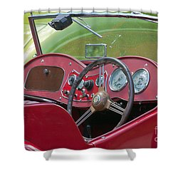 Red Mg-td Convertible  Shower Curtain by Terri Waters