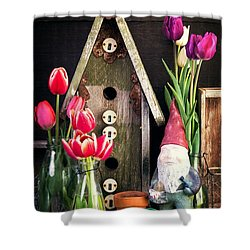 Inside The Potting Shed Shower Curtain by Edward Fielding