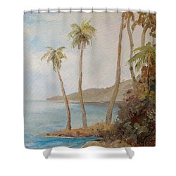 Shower Curtain featuring the painting Inside The Reef by Alan Lakin