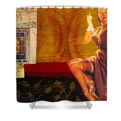 Shower Curtain featuring the mixed media Inspected by Desiree Paquette