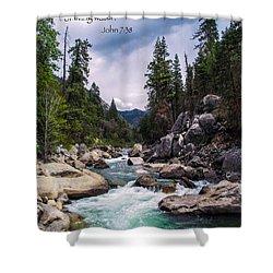 Inspirational Bible Scripture Emerald Flowing River Fine Art Original Photography Shower Curtain